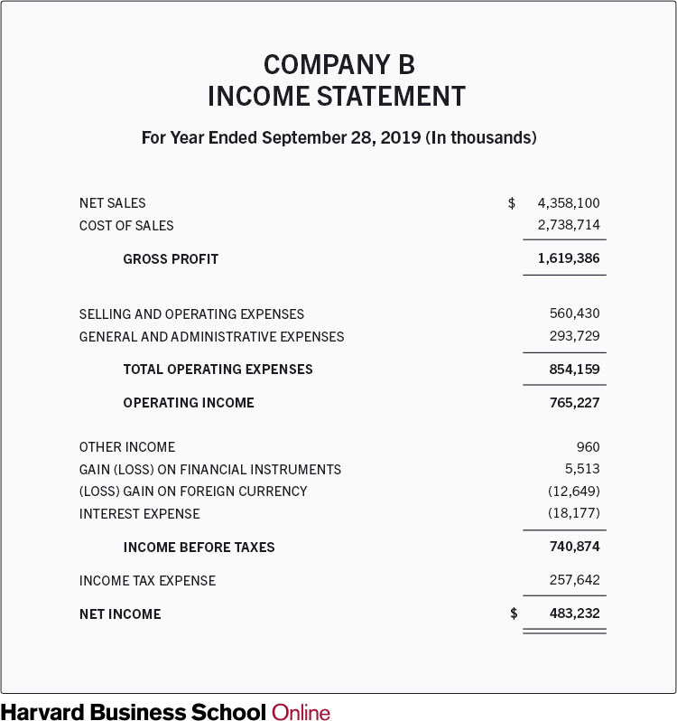 Sample Income Statement, followed by a link to an alternative version