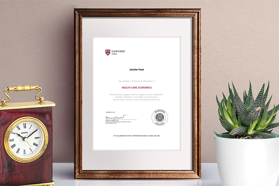 Health Care Economics Certificate of Completion from Harvard Online