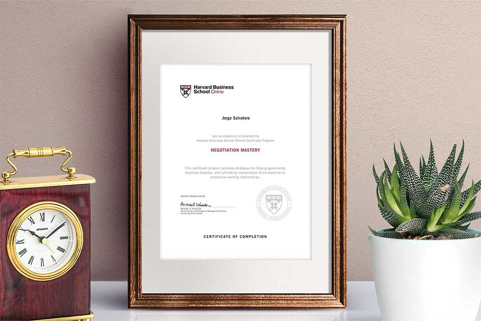 Negotiation Mastery Certificate of Completion from HBS Online