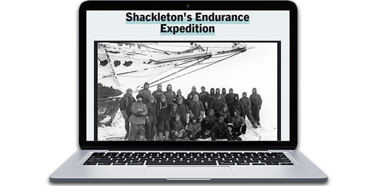 Explorer Ernest Shackleton and his expedition team
