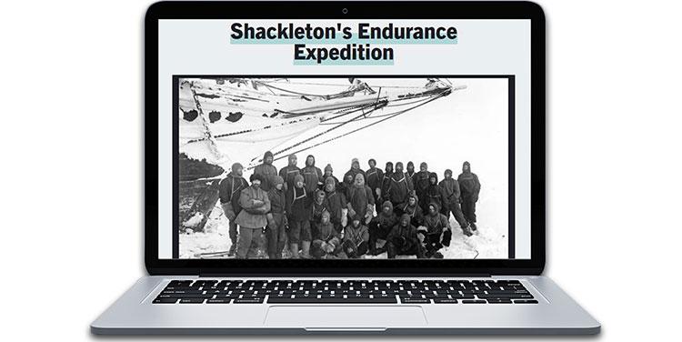 Explorer Ernest Shackleton and his expedition team