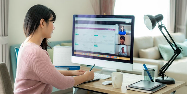 Woman on remote conference call